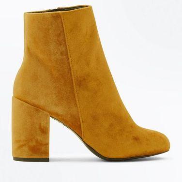 yellow-velvet-block-heel-ankle-boots